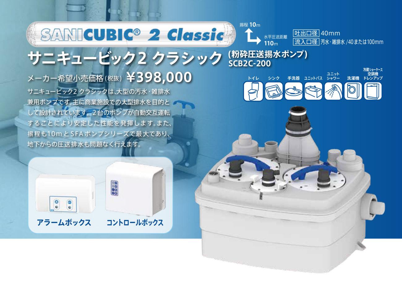 SFAポンプ サニキュービック2クラシック 粉砕圧送揚水ポンプ SCB2C-200